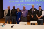 From left to right, Fred Arment, Dr. Sharif Abdullah, Rita Marie Johnson, Mark Bieber, Russ Vandenbroucke, Chad Waldo